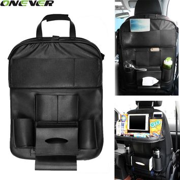 Leather Car Back Seat Organizer with Folding Backseat Hanging Holder Storage Bags Car Tissue Bag For ipad Books Drink
