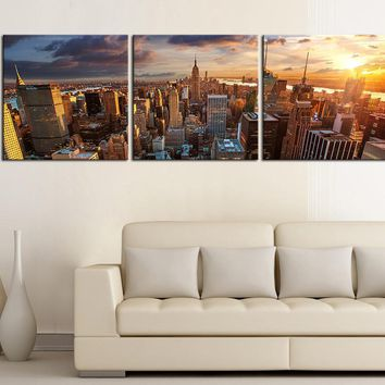 LARGE Wall Art CANVAS PRINT New York City Panorama Skyline Printing - 3 Panel - Home or Office Decoration