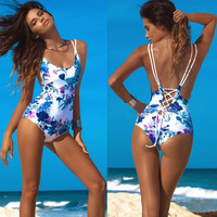 Women Sexy Swimsuit Strappy Swimwear Bathing Monokini Push Up Padded One Pieces