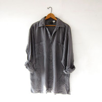 vintage gray silk shirt. slouchy silk blouse. silk pocket shirt. long sleeve silk top.