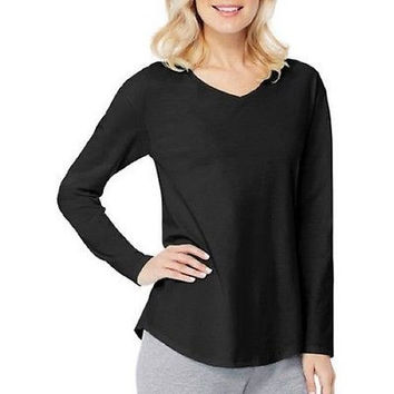 Hanes Women's Long Sleeve V-neck Tee, Black, XXL
