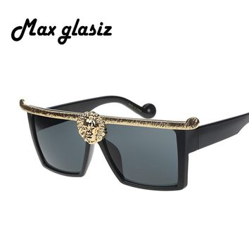Hot-selling! Medusa Anna-Karin Karlsson men sunglasses Gold 3D Lion fashion brand designer sun glasses eyewear oculos masculino