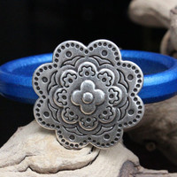 Licorice Leather Bracelet Layered Zamak Flower Focal Magnetic Clasp Summer Trends May Finds May Gifts Mothers Day