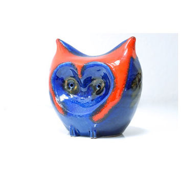 WEST GERMAN Pottery Money Box 1968, Owl Sparkasse, Carstens Boutique Range, Gerda Heuckeroth, Made in Germany, Retro Fat Lava Piggy Bank