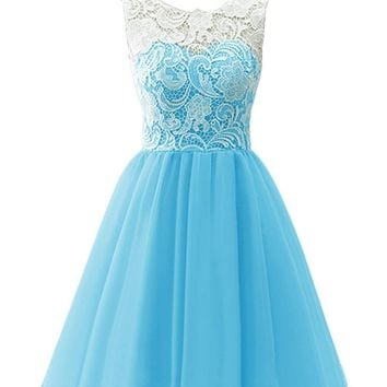 Blue Prom dress 2016 Knee Length Chiffon Short Bridesmaid Dresses