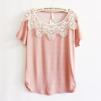 Fashion Lace Polka Dot Bat Sleeve Shirts