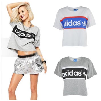 "Women Fashion ""Adidas"" Print T-Shirt  Tops Crop Top Tee"