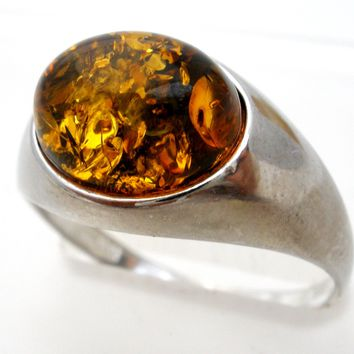 Amber Sterling Silver Ring Size 6.75 Vintage