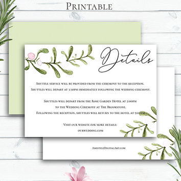 Greenery Wedding Insert Card, Customized, Greenery Wedding, Details Card Wedding, Wedding Info Card, Mistletoe, Custom Invitation