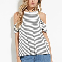 Open-Shoulder Striped Top
