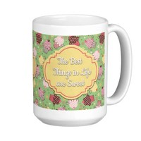Cute Gree with Pink Yellow Cupcakes Best Things... Classic White Coffee Mug