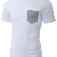 LE3NO PREMIUM Mens Lightweight Ringspun Short Sleeve Pocket T Shirt