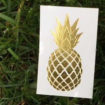 Pineapple Temporary Tattoo - Metallic Gold Tattoo - Jewel Flash Tattoos - Fake Body Jewelry - Summer Beach Tats - Party Favors - Gift Ideas