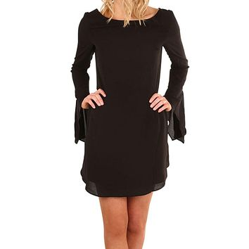 Women Black Sexy Party Dresses Holiday O Collar Ladies Casual Loose Long Sleeve Flare Elegant Mini Dress