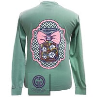 Girlie Girl Originals Mason Jar Chevron Bow Comfort Colors Seafoam Bright Long Sleeves T Shirt