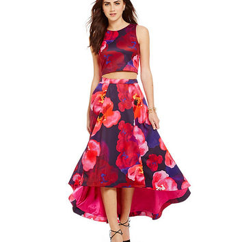 Belle Badgley Mischka Jane Poppy-Print 2-Piece Crop-Top and Skirt Set | Dillards