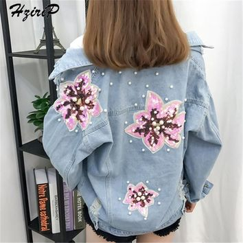 HziriP New Denim Jacket Women 2018 New Casual Blue Holes Pearls SequinWashed Sequined Regular Jackets Streetwear Loose Coat