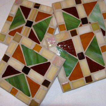 Mission Style Stained Glass Coasters / Mosaic Coaster / Earth Tone Coaster / Unisex Coaster / Rustic Coaster / Green Gold Brown Coaster
