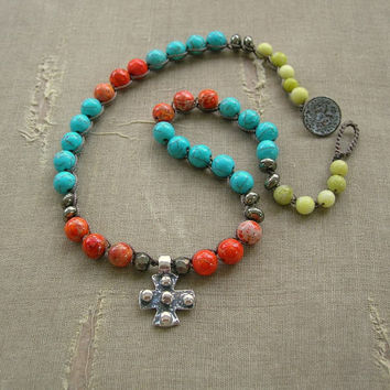 Boho crochet necklace, artisan silver cross - Inner Faith - Bohemian jewelry religious jewelry, pendant necklace, turquoise, red, jade