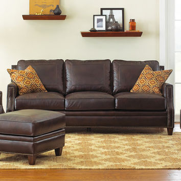 Steve Silver Caldwell Sofa w/2 Accent Pillows in Walnut Leather
