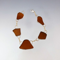 Brown Sea Glass Bracelet, Two Toned, Gold and Silver, Handmade Beach Glass, Topsail Island, NC