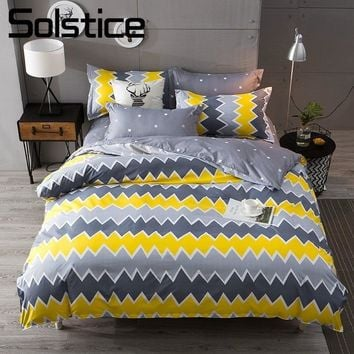 Solstice Home Textile King Queen Full Twin Bedding Sets Boy Girls Kid Adult Linens Wave Stripe Duvet Cover Pillowcase Bed Sheets