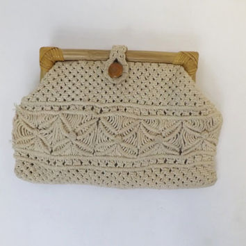 Vintage Mister Ernest 1960s 70s Boho Purse Tan Natural Ecruc Woven Clutch Purse Macrame Crochet handbag Hippie Summer Beach Boho Bag Folk
