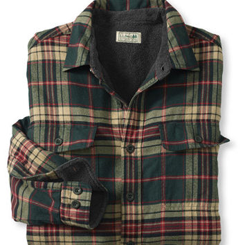 Men's Fleece-Lined Flannel Shirt: Button-Front | Free Shipping at L.L.Bean