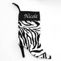 Zebra Print Spike Heel Christmas Stocking