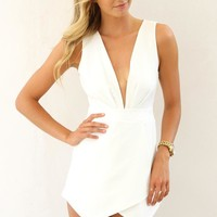 White Sleeveless Overlay Playsuit with Open Cutout Back