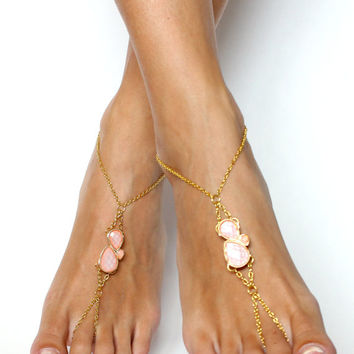 Soft Peach Barefoot Sandals Chained Sandals Peach Teardrop Sandals Gold and Peach Anklet Foot Jewelry Gypsy Sandals Foot Thong Beach Wedding