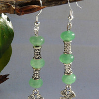 "Green Aventurine, Tibetan Silver with 4 Leaf Clover Dangle Earrings  ""Stones of Luck"""
