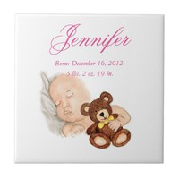 Watercolor baby holding a teddy bear name ceramic tile