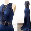 Mermaid Dark Navy Prom Dress with Train, Long Prom Gown , Navy Lace Jersey Formal Dresses, Evening Gown, Wedding Bridesmaid Dress