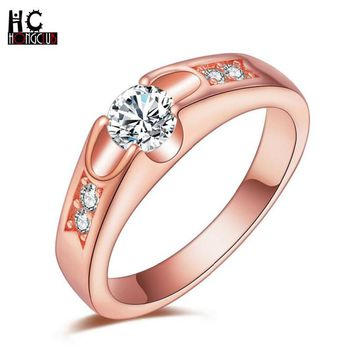 HONGCLUB Elegant Glass Rose Gold Color Big Cubic Zirconia CZ Flower LOVE bohemian Engagement Wedding Ring for Women Jewelry Y21