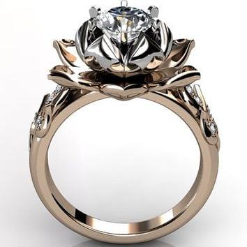 14k two tone rose and white gold diamond unusual unique lotus flower engagement ring, bridal ring, wedding ring ER-1076-8