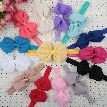 14 Color New Baby Christmas Hair Big Bow Flower Shaped Baby Girl Headbands Hair Bands for Children Newborn Toddler Hot Sale 2017