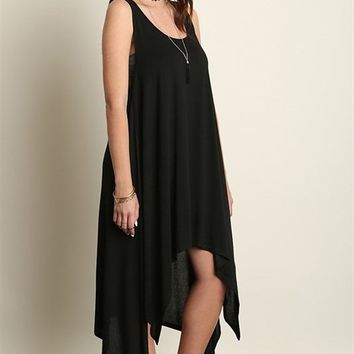 PALM DESERT ASYMMETRICAL TANK DRESS - BLACK