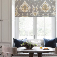 Ikat  Faux Roman Shade Lined Mock Valance Dakota Grey/ Custom Sizing Available!