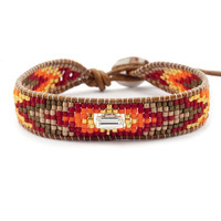 Red bead mix single wrap bracelet