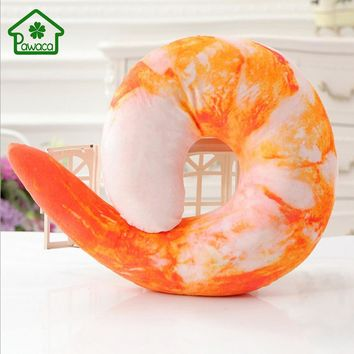 Creative U Shaped Shrimp/Chili Soft Neck Pillow Travel Pillow Cushion Peeled Prawns Stuffed Plush Toys Kids Toy Birthday Gift