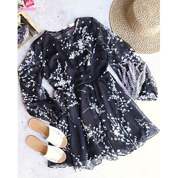 escape into the night - floral romper - black