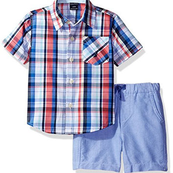 Baby Boys' Short Sleeve Woven and Pull On Short Set
