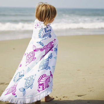 fashion Fish printed with tassels Round Hippie Tapestry Beach Towels For Adults Print Toalha De Banho Serviette De Plage