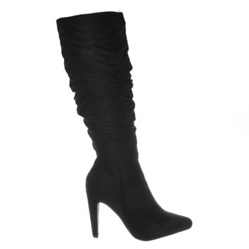 235ed540183 Every Slim Cone Heel Pointed Toe Knee High Slouch Boots