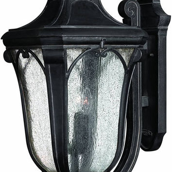 "0-034147>27""h Trafalgar 3-Light Extra-Large Outdoor Wall Lantern Museum Black"