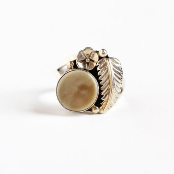 Vintage Sterling Silver Shell Ring - Retro Size 5.5 Southwestern Native American Style Leaf Flower Studded Boho Jewelry, Signed RG