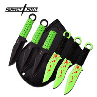Perfect Point 6 Inch Overall Black Green Cord 6 Piece Throwing Knife Set