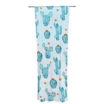 "Strawberringo ""Cactus Pattern"" Blue Orange Watercolor Decorative Sheer Curtain"