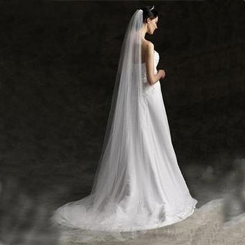 One-Layer Bridal Veils 2 meters Chapel Length Cut Edge Tulle Wedding Veils free shipping wedding accesory